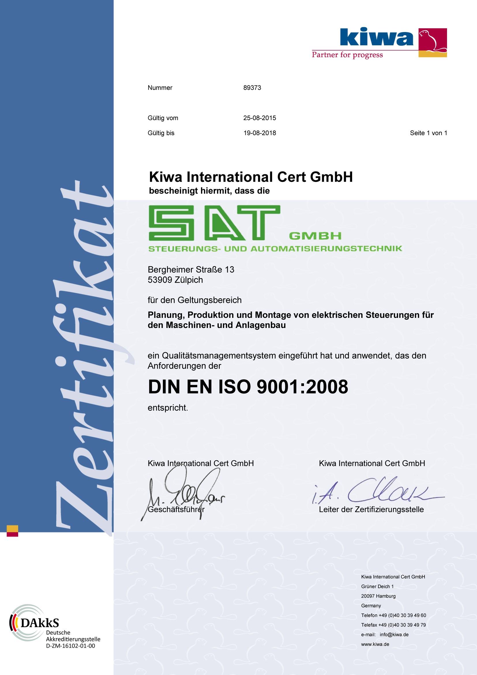 ISO - Zertifikat